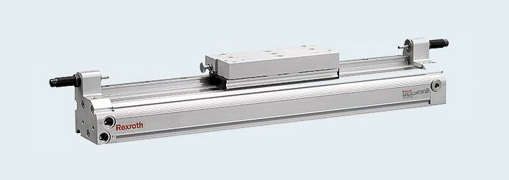 Piston rod-free cylinder for cutting machine tools