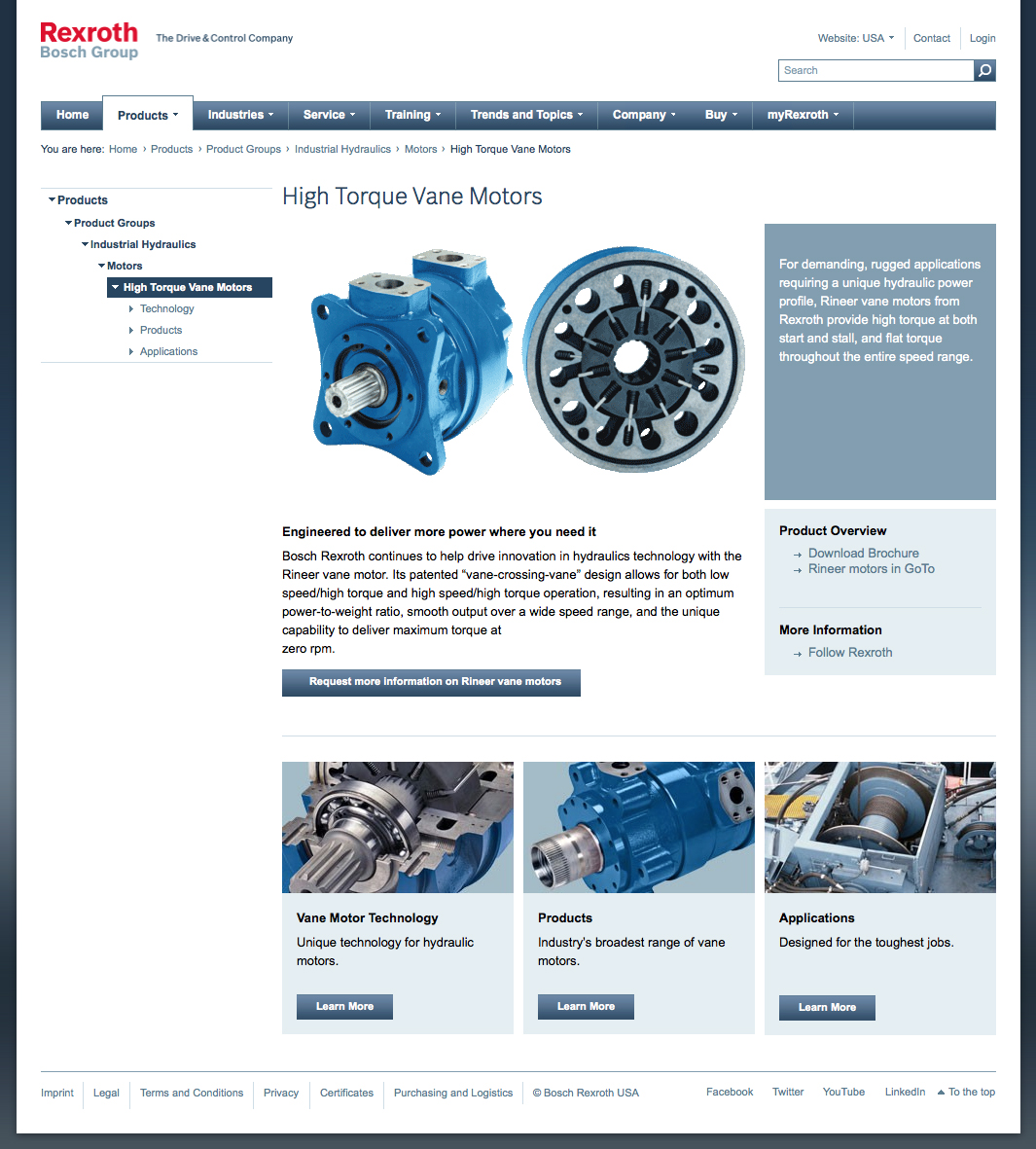 New Rexroth Web pages highlight Rineer high-torque hydraulic