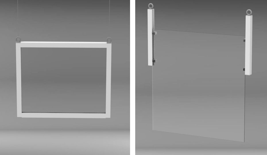 Suspended protective frame with transparent window